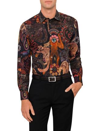 Big Monkey Print Single Cuff Shirt