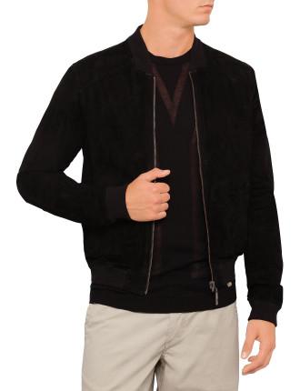Nappa Suede Zip Reverse Bomber Jacket