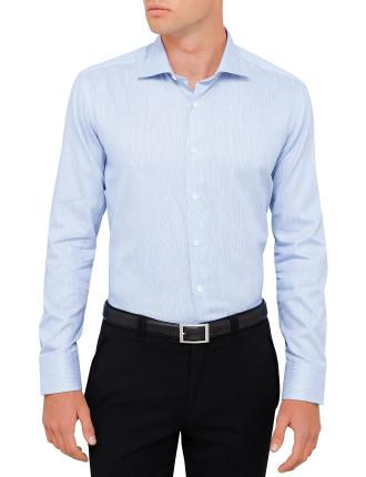 Cotton/Linen Text Pinfeather Shirt