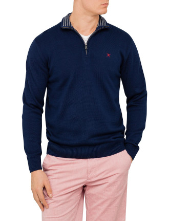 Half Zip Knit With Elbow Patches