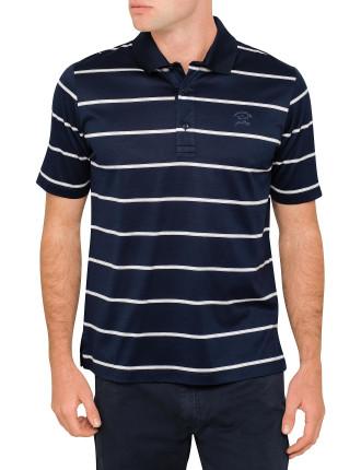 Short Sleeve Mercerised Stripe Polo