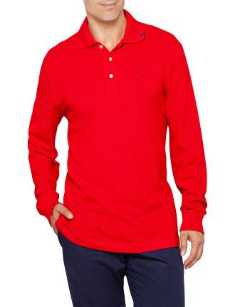 Long Sleeve Button Pique Polo