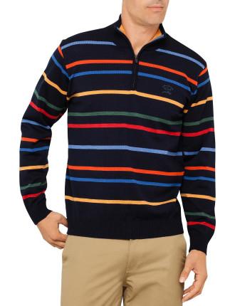 Mock Zip Super Melange Multi Stripe Knit