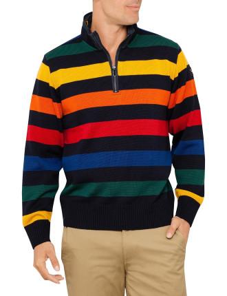 Mock Zip Cool Touch Stripe Knit