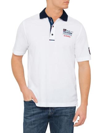 White Plain Pique Contrast Collar Polo