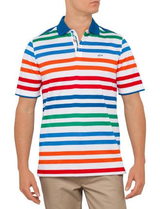 Stripe Pique Polo Multi Stripe