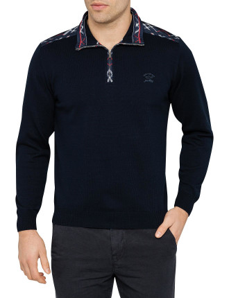Half Zip Cotton Sweater Tartan Trim