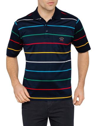 Multi Narrow Stripe Mercerised Polo