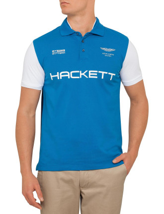 Amr Hackett Motif Polo With White Sleeves