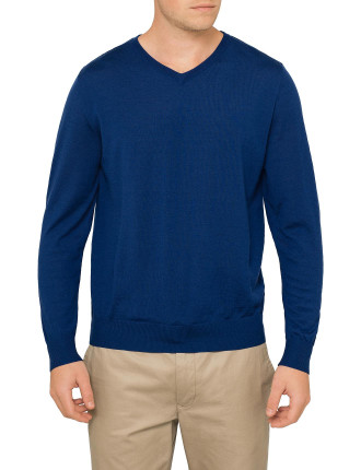 V NK FINE GAUGE WOOL SWEATER