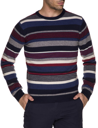 N. Multi Colored Striped Wool Crew