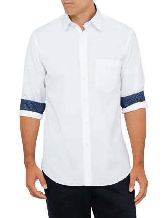 White Plain With Print Trim Shirt