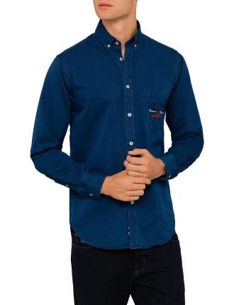 Long Sleeve Pocket Logo Denim Shirt
