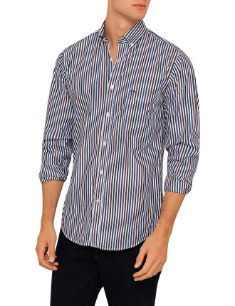 Long Sleeve Washed Contrast Stripe Shirt