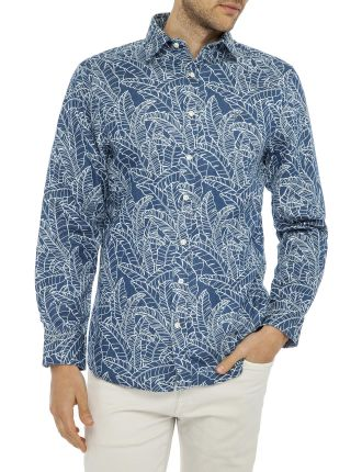 Indigo Leaf Print Reg Shirt