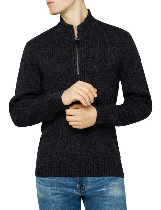 Twisted Yarn 1/2 Zip Knitwear