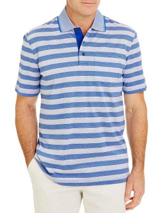 Mercerised Stripe Polo
