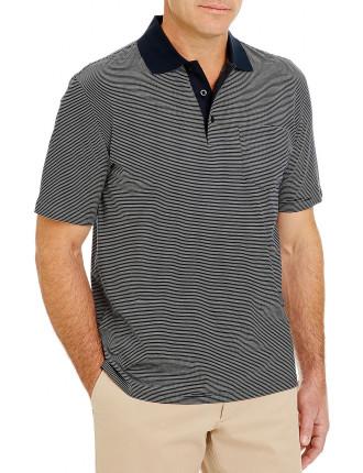 Mercerised Stripe Polo Navy Collar