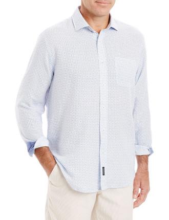Linen Blend Geo Print Shirt