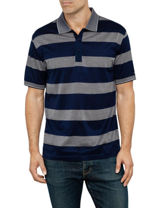 Mercerised Block Stripe Polo