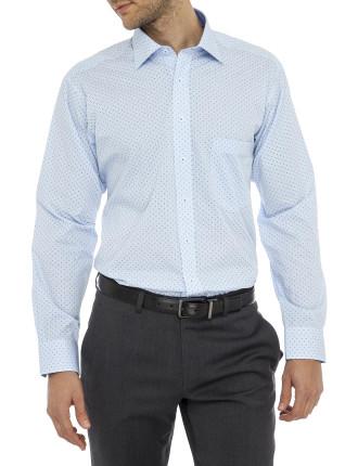 Renwick Print Gingham Stretch Collar Regular Fit Shirt