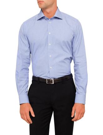 Spot Print Micro Check Contemporary Fit Shirt
