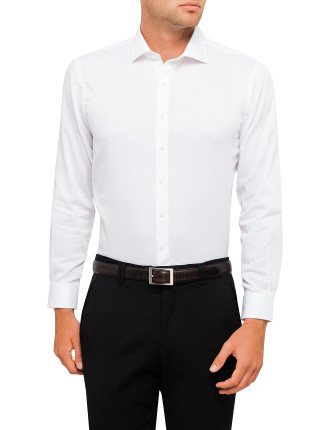 European Fit White Self Stripe Shirt