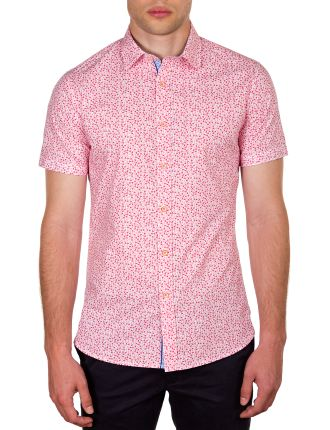 AUBURN SHORT SLEEVE MONKEY PRINT SLIM FIT SHIRT