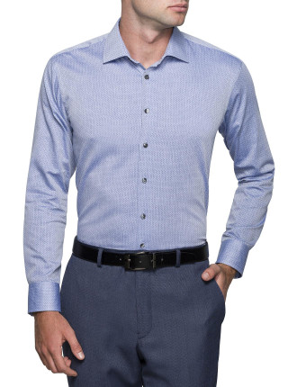 HERRINGBONE SPOT SLIM FIT SHIRT