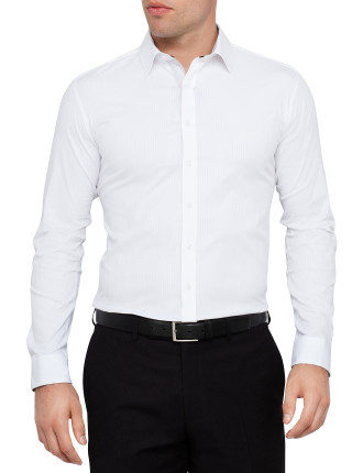 Tufts Self Stripe Body Fit Shirt