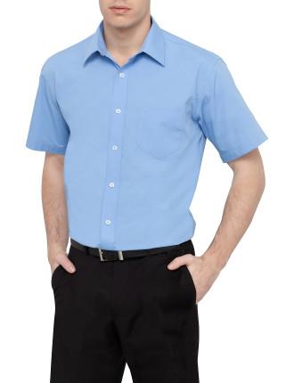 Tailored Short Sleeve Solid Poplin Business Shirt