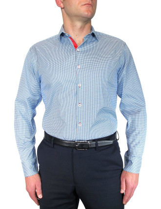 Houndstooth Shirt W/Ribbon Trim