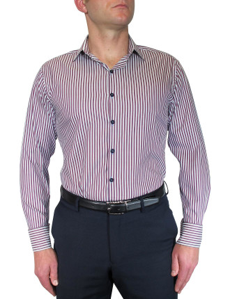 Twill Stripe Shirt W/Contrast Button Holes