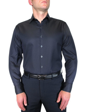 Textured Plain Shirt W/Contrast Button Holes