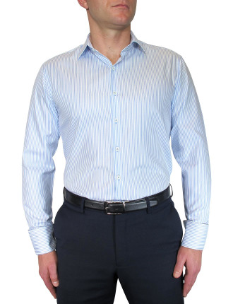 Oxford Stripe W/Contrast Button Holes