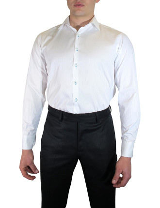 White Shirt W/Contrast Fabric Tirm