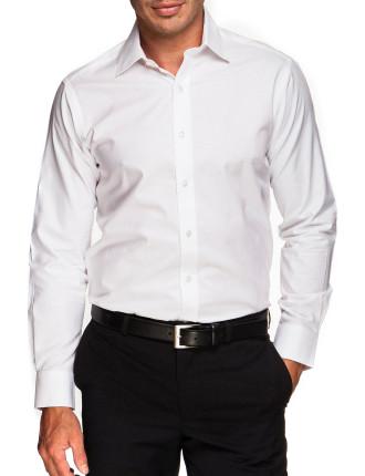 Textured Plain City Fit Single cuff Shirt