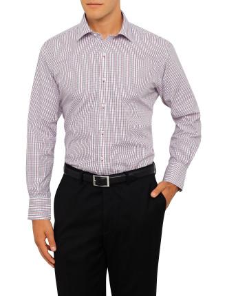 Vh European Fit L/S Shirt Navy/Red Check