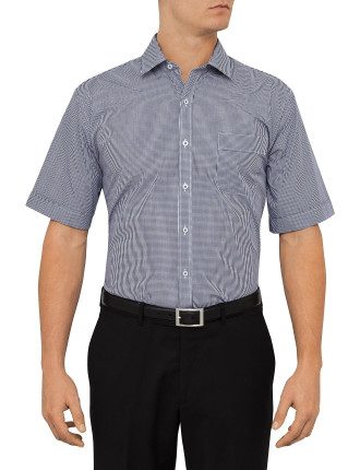Short Sleeve Small Gingham Check Shirt