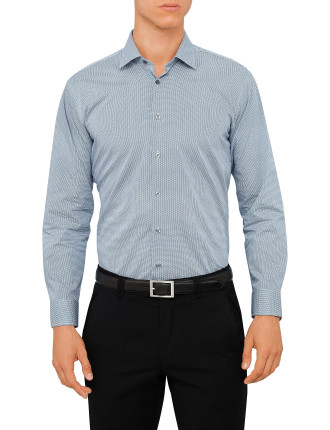 Ck Slim Fit Shirt White Navy Geometric Print