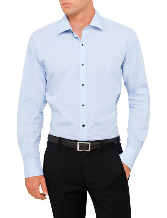 Micro Check Shirt W/Contrast Buttonholes