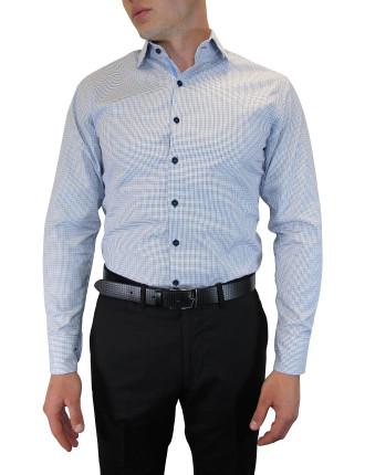 Spot Dobby Ribbon Trim Shirt