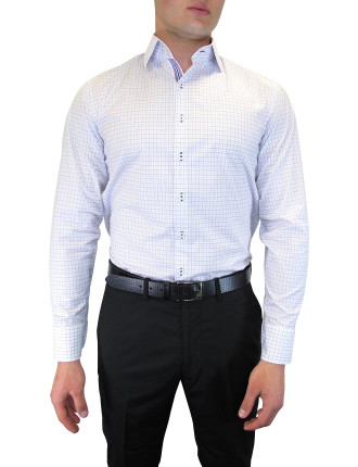 Oxford Weave Check Shirt With Cuff Trim