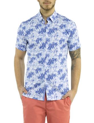 Short Sleeve Tropical Leaf Print Shirt