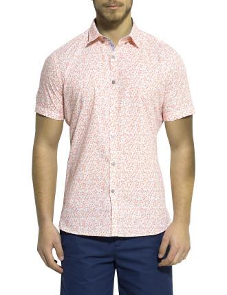 Short Sleeve Vine Print Shirt