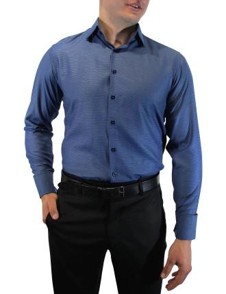 Spot Dobby Slim Fit Shirt with Cuff Trim