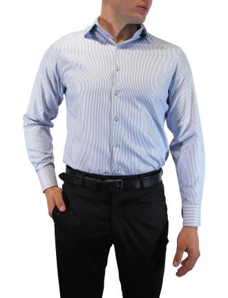 Twisted Stripe Slim Fit Shirt With Trim