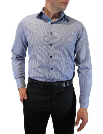 Dobby Slim Fit Shirt With Ribbon Trim