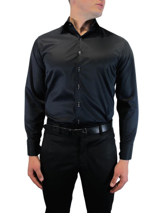 Slim Fit Double Cuff Shirt With Trim