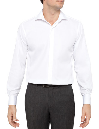 Fine Twill Fitted Non Iron Shirt Regular Fit Double Cuff